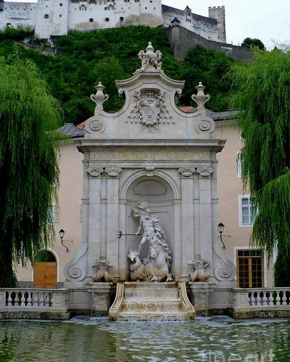 Salzburg Poster featuring the photograph Salzburg Castle With Fountain by Carol Groenen