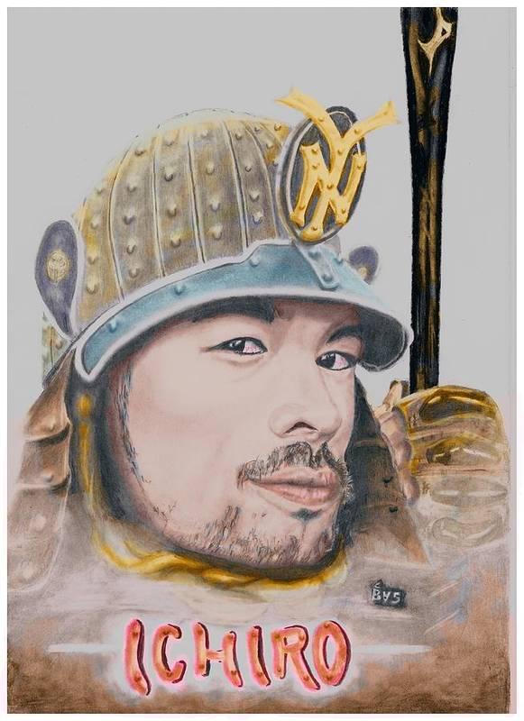 Ichiro Poster featuring the drawing Samurai Ichiro by Bas Van Sloten