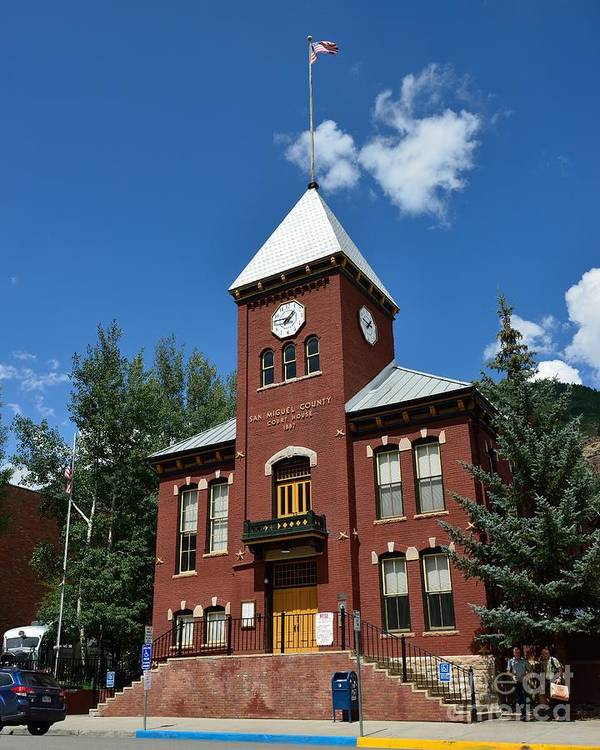 Telluride Poster featuring the photograph San Miguel County Courthouse by Dave Hutchinson