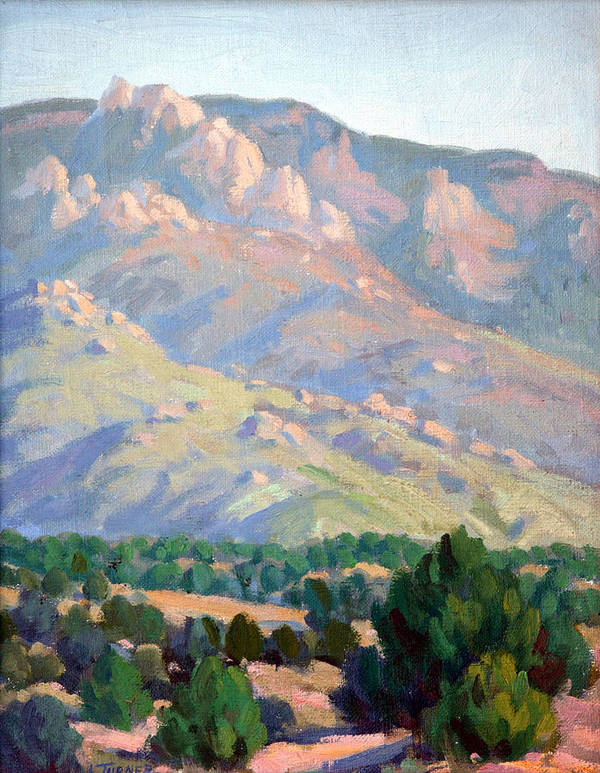 Sandia Mountains Poster featuring the painting Sandia Sketch by Douglas Turner