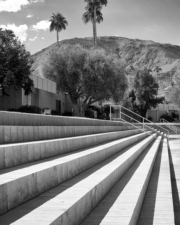Sandpiper Poster featuring the photograph Sandpiper Stairs Bw Palm Desert by William Dey