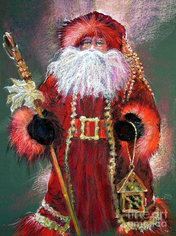 Santa Claus Poster featuring the painting Santa As Father Christmas by Shelley Schoenherr
