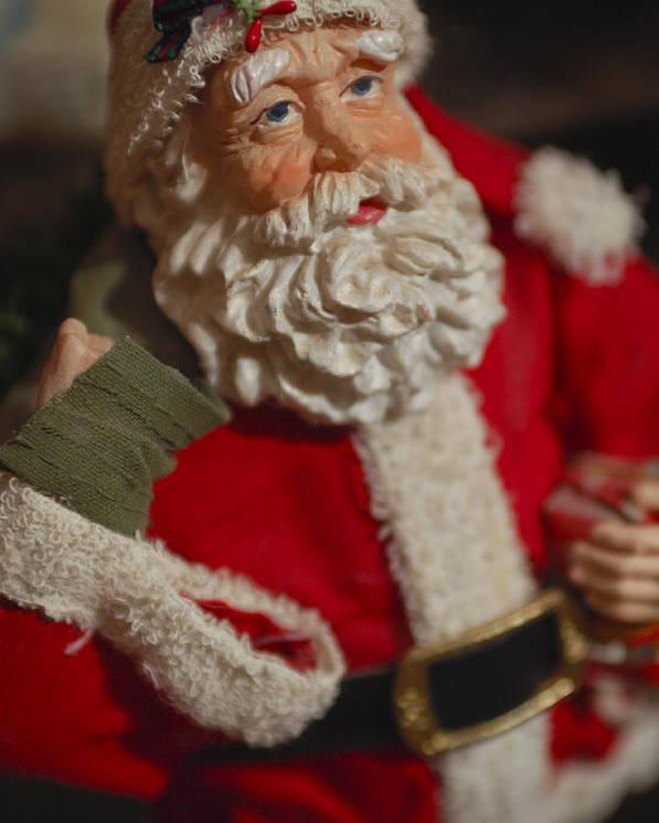Santa Claus Poster featuring the photograph Santa Claus - Antique Ornament - 02 by Jill Reger