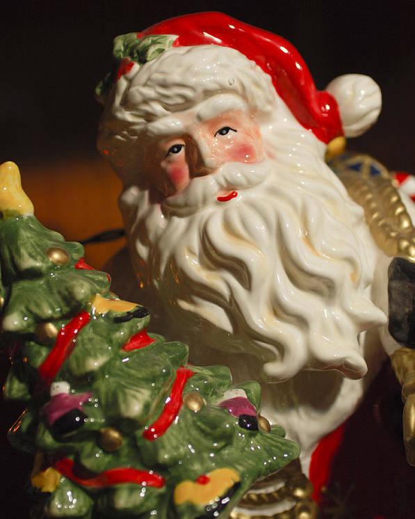 Santa Claus Poster featuring the photograph Santa Claus - Antique Ornament - 10 by Jill Reger