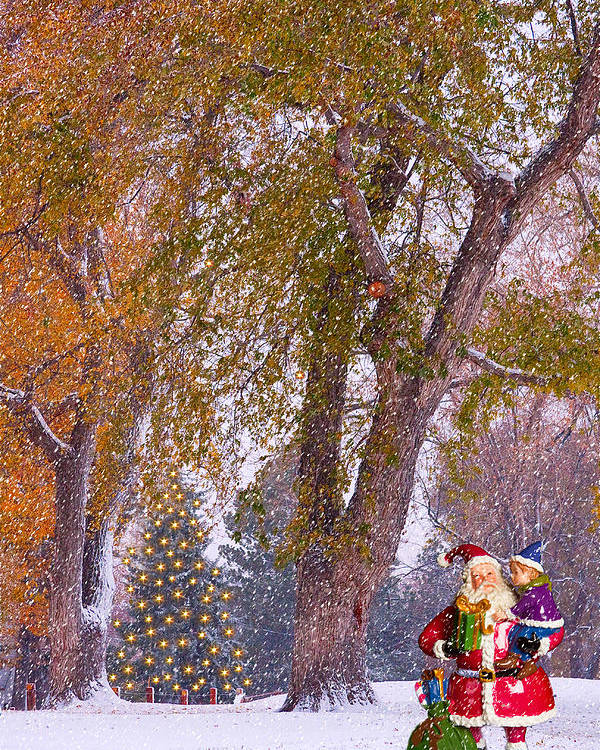 Santa Poster featuring the photograph Santa Claus In The Snow by James BO Insogna