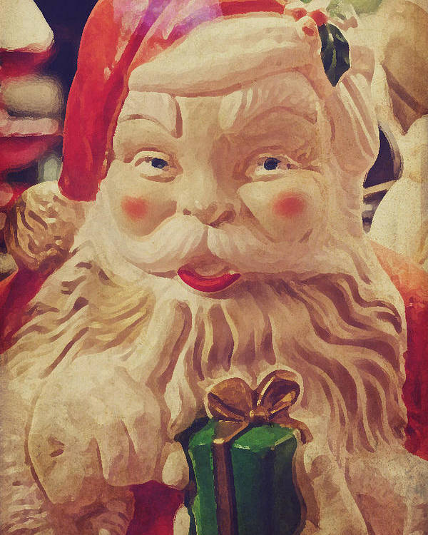 Santa Poster featuring the photograph Santa Whispers Vintage by Toni Hopper