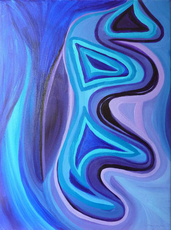 Sapphire Poster featuring the painting Sapphire Passion - Luminescent Light by Daina White