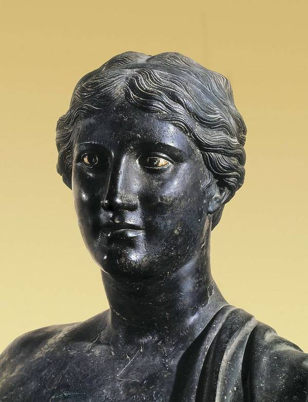 Portrait Poster featuring the photograph Sappho 612-545 Bc. Greek Art. Sculpture by Everett