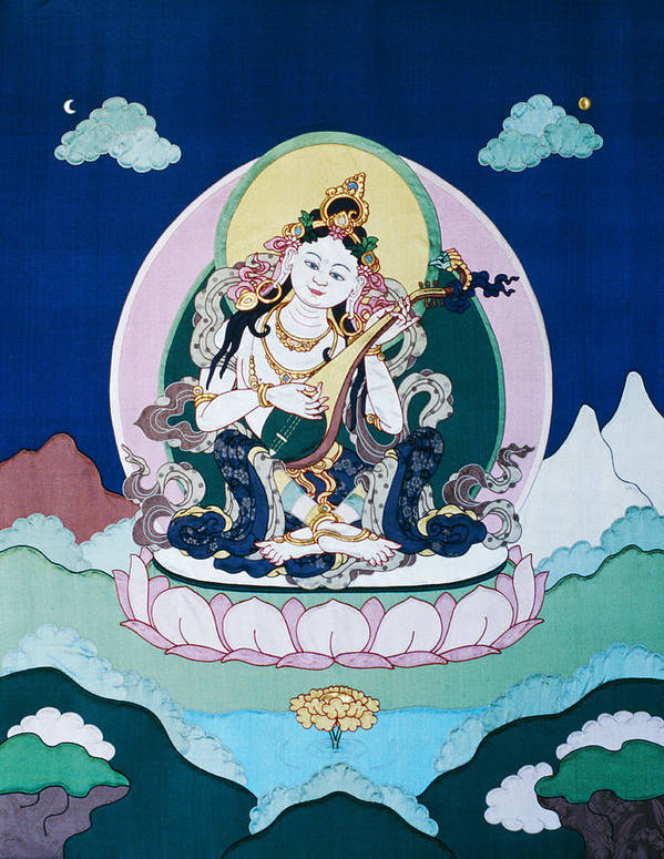 Saraswati Poster featuring the tapestry - textile Saraswati by Leslie Rinchen-Wongmo