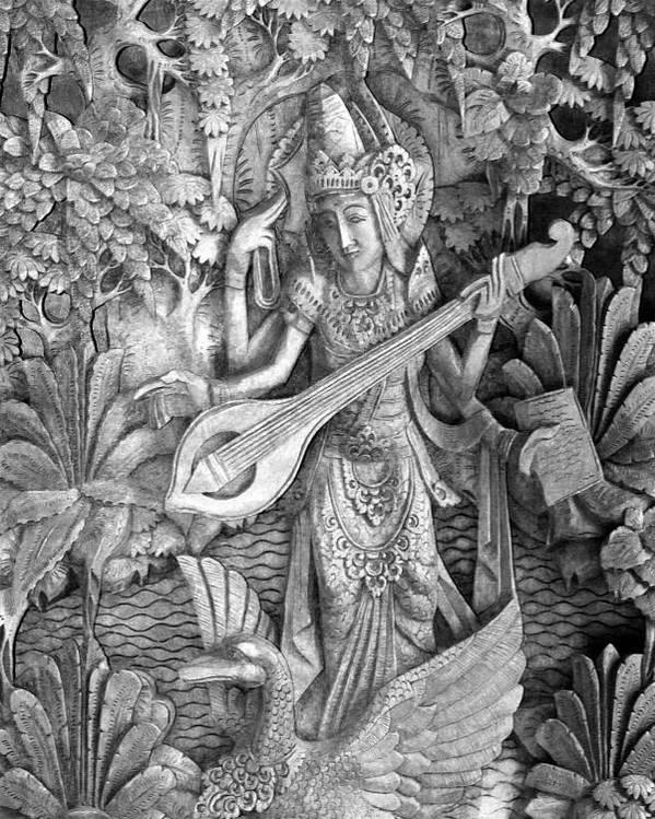 Saraswati Poster featuring the photograph Saraswati - Supreme Goddess by Karon Melillo DeVega