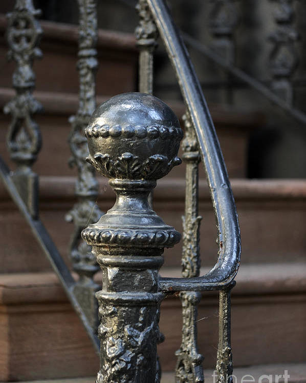 Beautiful Wrought Iron Poster Featuring The Photograph Savannah Wrought Iron Newel  Post By Nancy Greenland