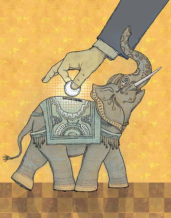 Bank Poster featuring the digital art Savings by Dennis Wunsch