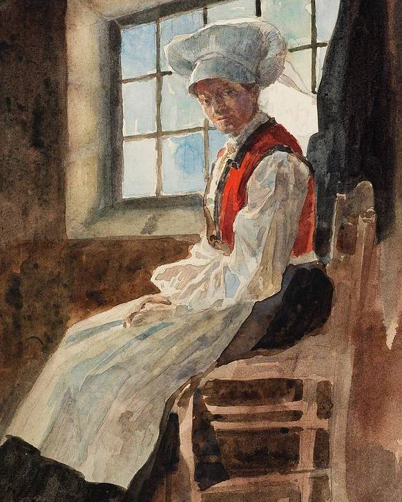 Scandinavia Poster featuring the painting Scandinavian Peasant Woman In An Interior by Alexandre Lunois