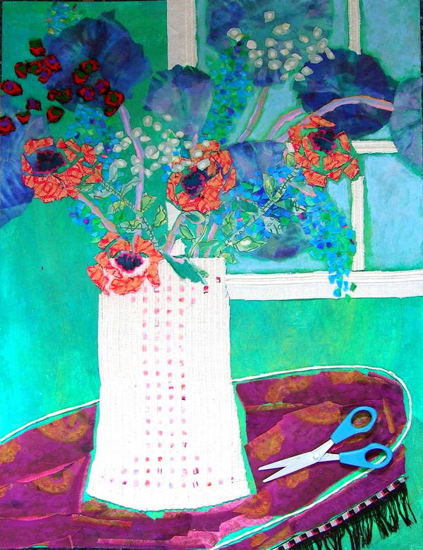 Flowers In A Vase Poster featuring the mixed media Scissors by Diane Fine