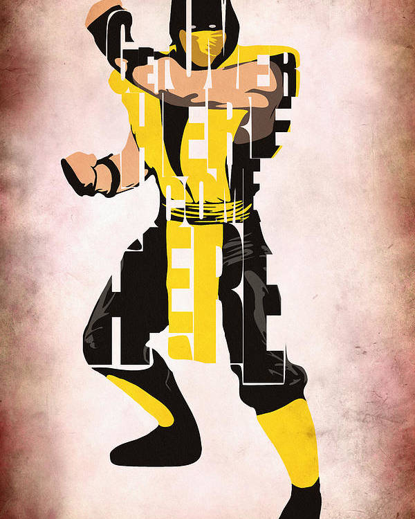 Scorpion Poster featuring the digital art Scorpion - Mortal KOmbat by Inspirowl Design