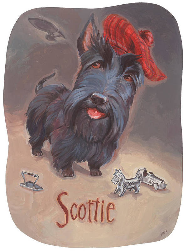 Scottie Art Poster featuring the painting Scottie's Beaming by Shawn Shea