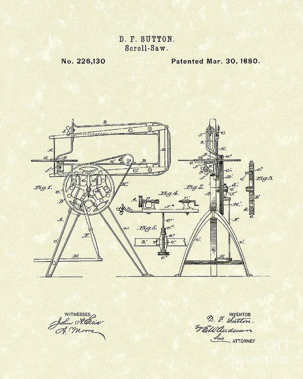 Sutton Poster featuring the photograph Scroll-saw 1880 Patent Art by Prior Art Design