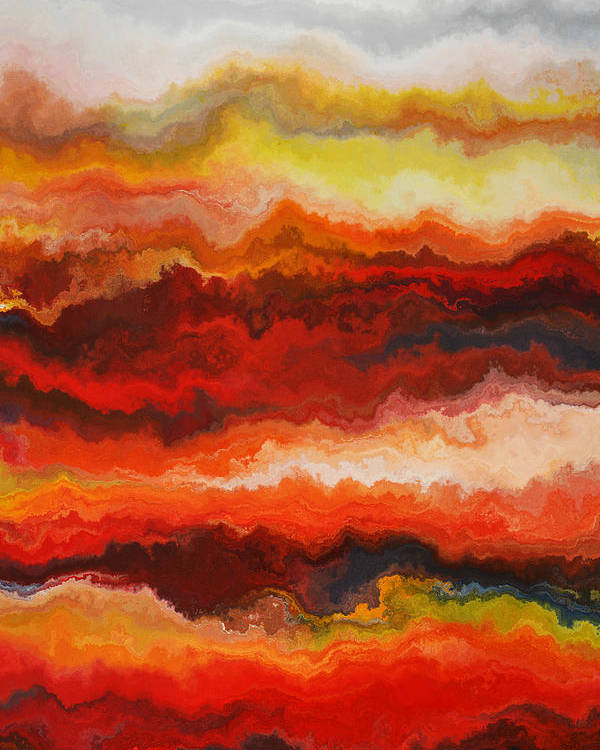 Red Poster featuring the painting Sea Of Fire by Andrada Anghel