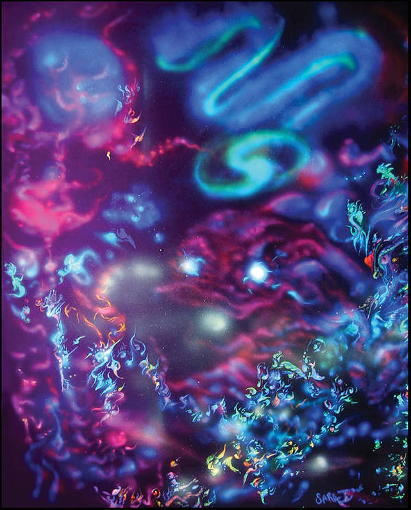 Space Poster featuring the painting Sea Of Universes by Sara Jimenez