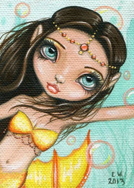 Fantasy Art Poster featuring the painting Sea Princess Marisol by Elaina Wagner