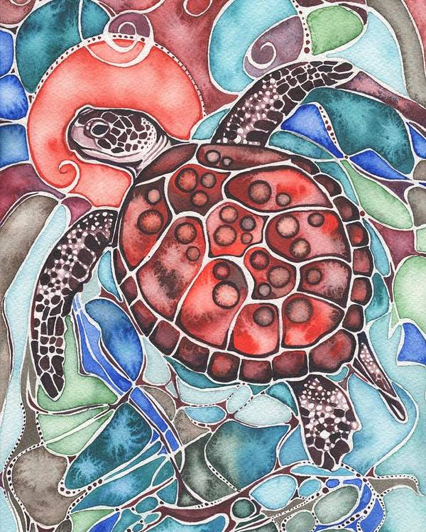 Sea Poster featuring the painting Sea Turtle by Tamara Phillips