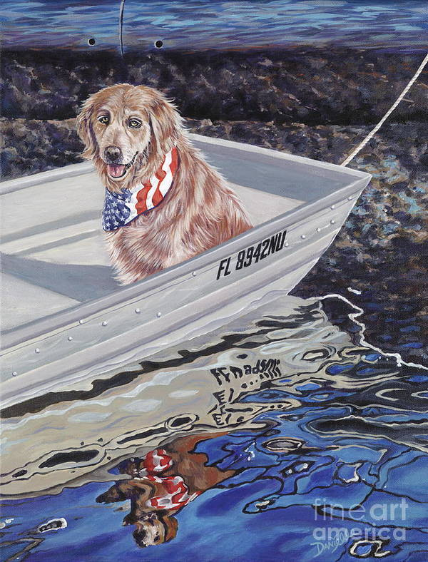 Golden Retriever Poster featuring the painting Seadog by Danielle Perry