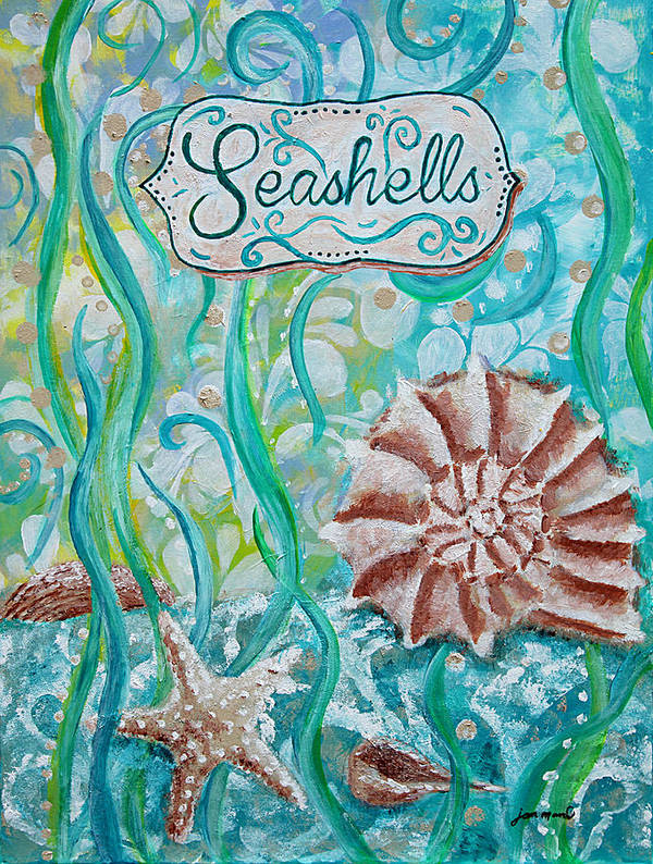Seashells Poster featuring the painting Seashells II by Jan Marvin