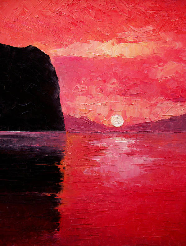 Landscape Poster featuring the painting Seaside Sunset by Sergey Bezhinets