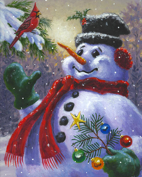 Snowman Poster featuring the painting Seasons Greetings by Richard De Wolfe