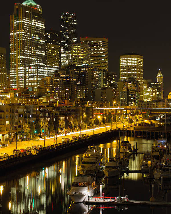 Seattle Poster featuring the photograph Seattle Downtown Waterfront Skyline At Night by Jit Lim