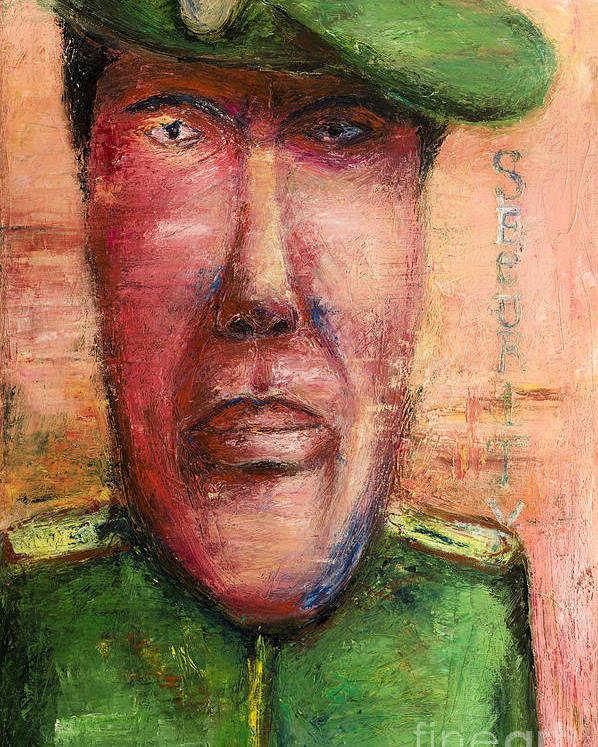 Guard Poster featuring the painting Security Guard - 2012 by Nalidsa Sukprasert