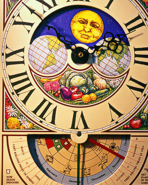 Clock Poster featuring the photograph Seed Planting Clock by Garry Gay