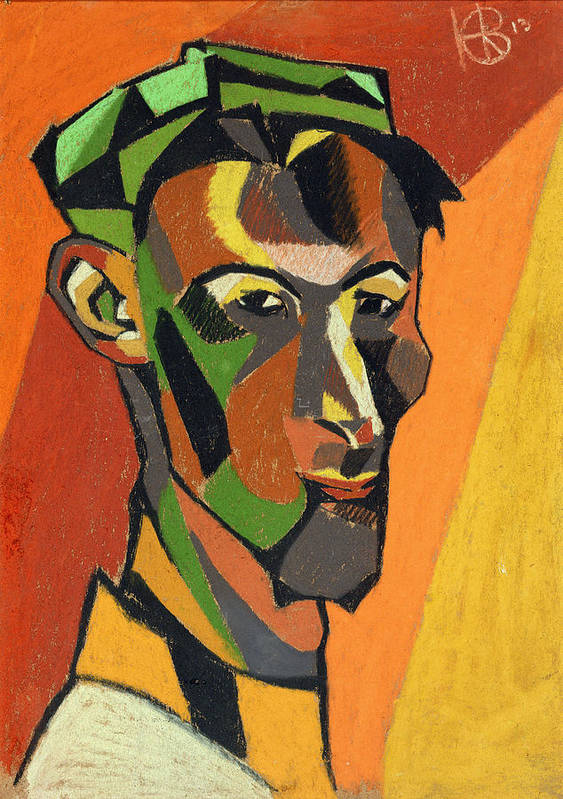 Male Poster featuring the drawing Self Portrait, 1913 by Henri Gaudier-Brzeska