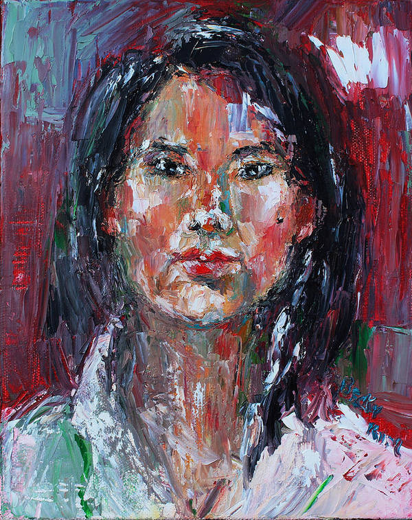 Self-portrait Poster featuring the painting Self Portrait 2013 -2 by Becky Kim