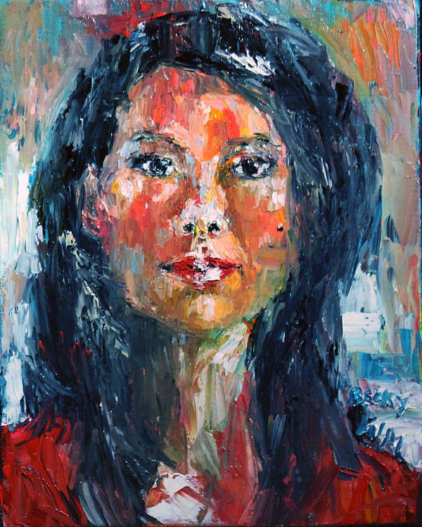 Self-portrait Poster featuring the painting Self Portrait 2013 - 4 by Becky Kim