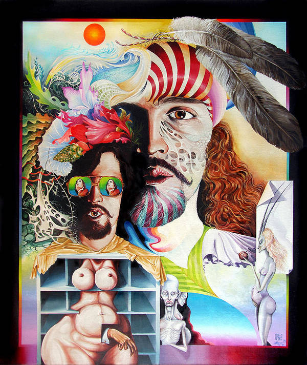 Surrealism Poster featuring the painting Selfportrait With The Critical Eye by Otto Rapp