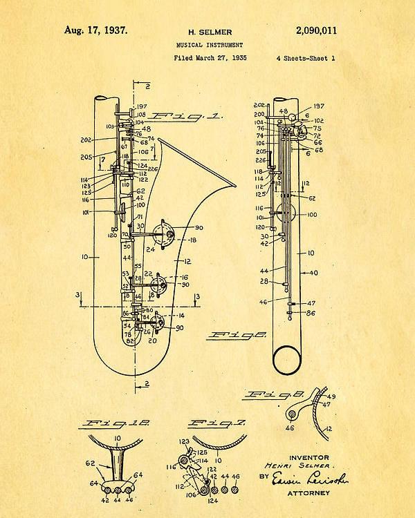 selmer saxophone patent art 1937 ian monk selmer saxophone patent art 1937 poster by ian monk