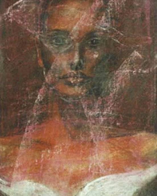 Portrait Art Poster featuring the painting Serious Bride Mirage by Jarmo Korhonen aka Jarko