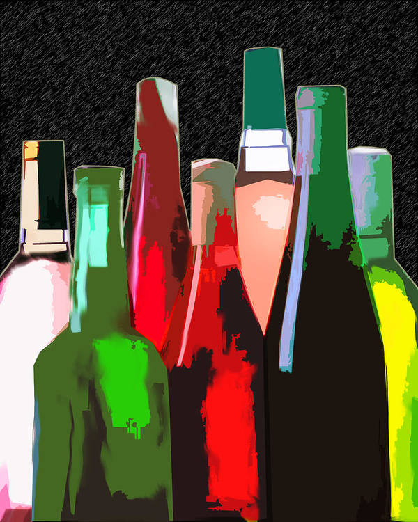 Wine Poster featuring the painting Seven Bottles Of Wine On The Wall by Elaine Plesser