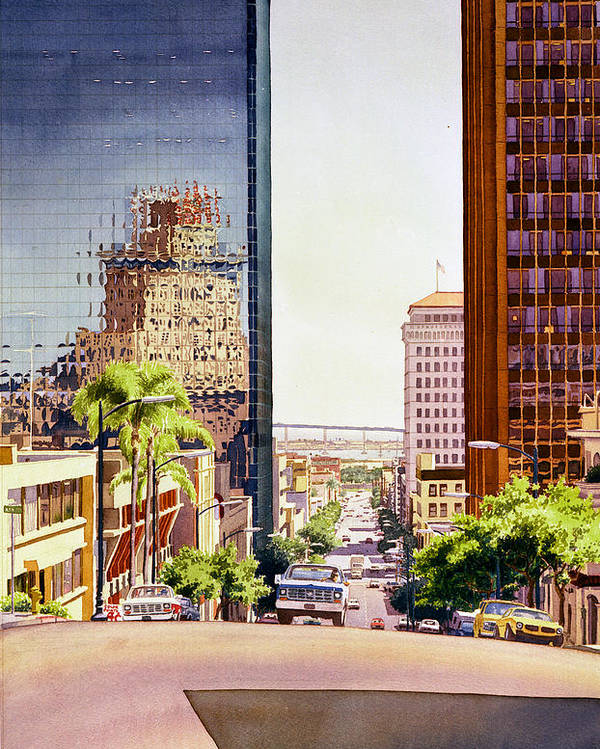 San Diego Poster featuring the painting Seventh Avenue In San Diego by Mary Helmreich
