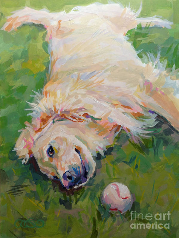 Golden Poster featuring the painting Seventh Inning Stretch by Kimberly Santini
