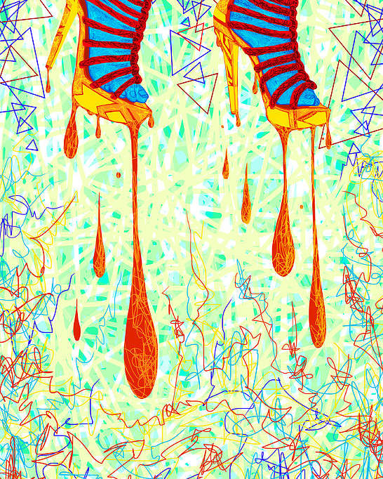 Digital Art Of High Heels Poster featuring the drawing Sexy High Heels Gold Abstraction by Kenal Louis