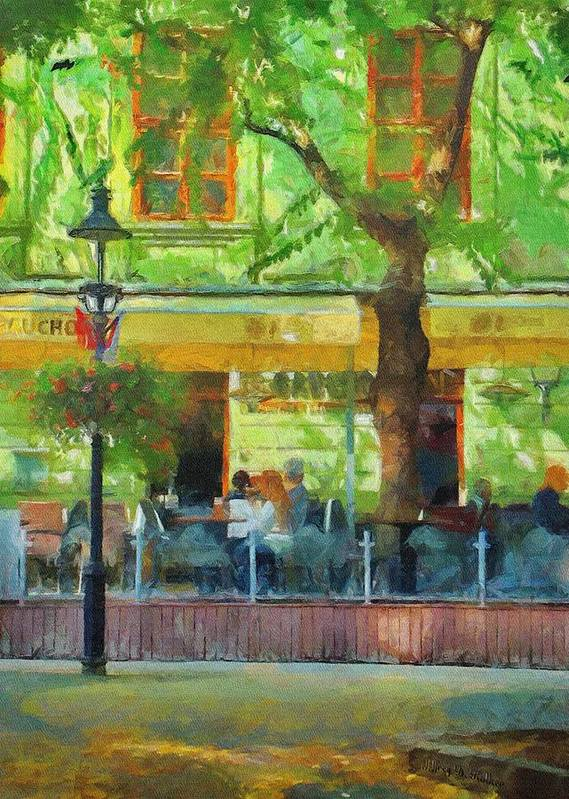 Bratislava Poster featuring the painting Shaded Cafe by Jeff Kolker
