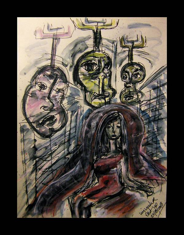 Damocles Poster featuring the drawing Shame Doubt Insecurity Our Own Worst Enemies by Mimulux patricia no No