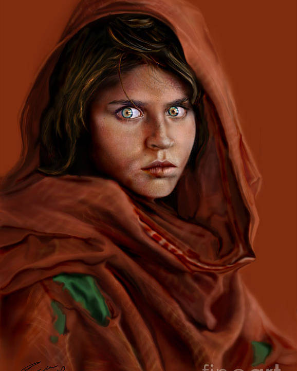 Afghan Girl Poster featuring the painting Sharbat Gula by Reggie Duffie