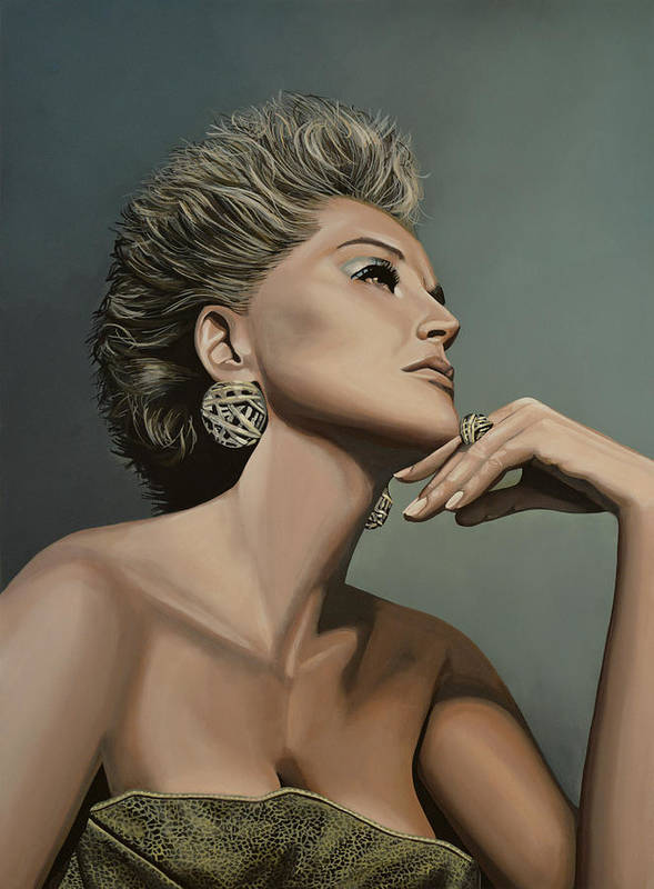 Sharon Stone Poster featuring the painting Sharon Stone by Paul Meijering