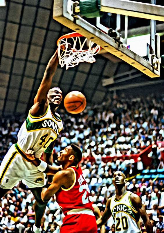National Poster featuring the painting Shawn Kemp Painting by Florian Rodarte