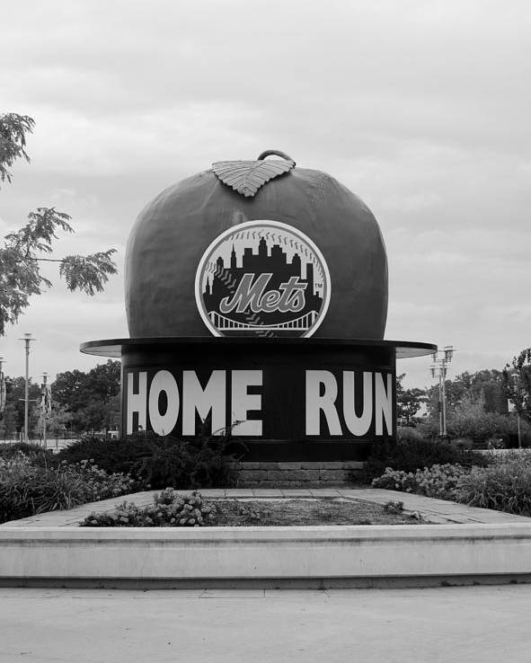 Shea Stadium Poster featuring the photograph Shea Stadium Home Run Apple In Black And White by Rob Hans