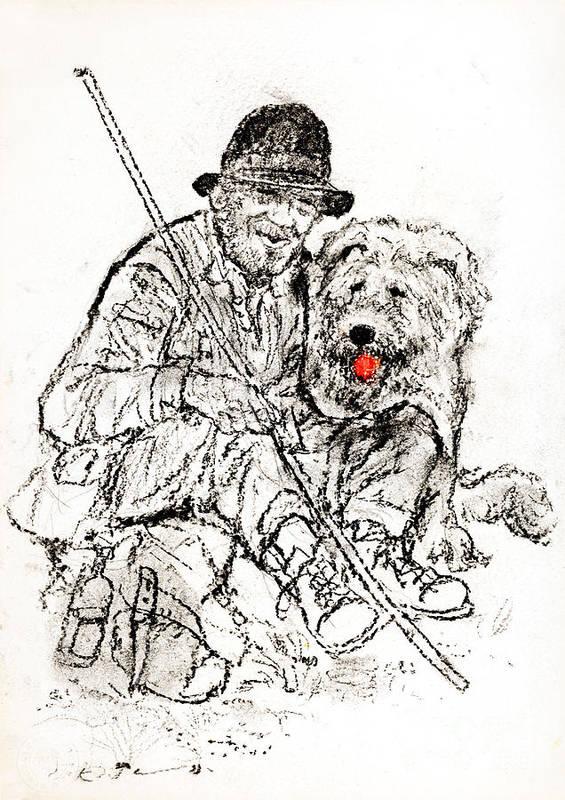 Shepherd Poster featuring the drawing Shepherd With Dog by Kurt Tessmann