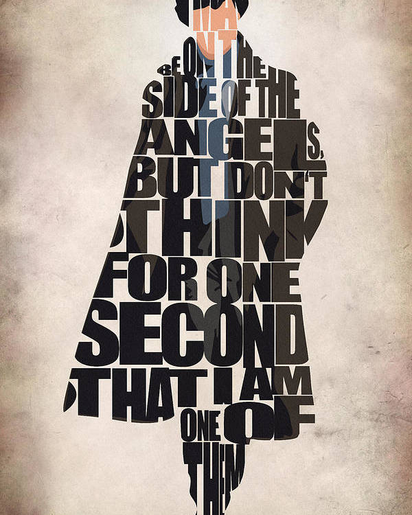 Sherlock Poster featuring the digital art Sherlock - Benedict Cumberbatch by Inspirowl Design